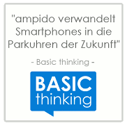 Smartphone parken parkuhr zukunft ampido basic thinking